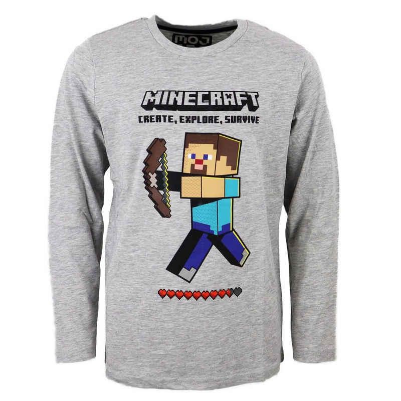 Minecraft Langarmshirt »Steve Kinder Shirt in Grau« Gr. 116 bis 152, Gamer