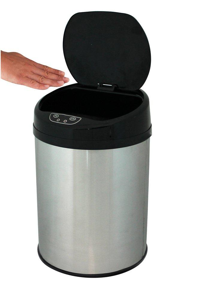 Edelstahl-Kosmetikabfalleimer, ECHTWERK, »INOX BRUSHED«, mit Infrarotsensor, 9 Liter in silberfarben