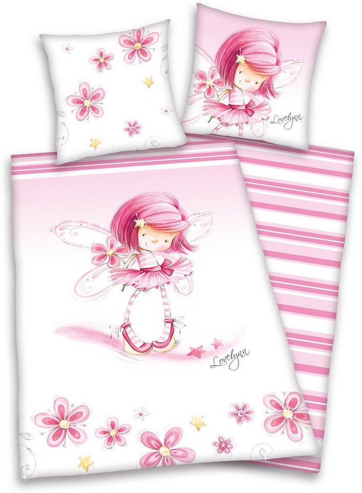 Wendebettwäsche, »Lovelynn«, mit niedlichen Blümchen in rosa