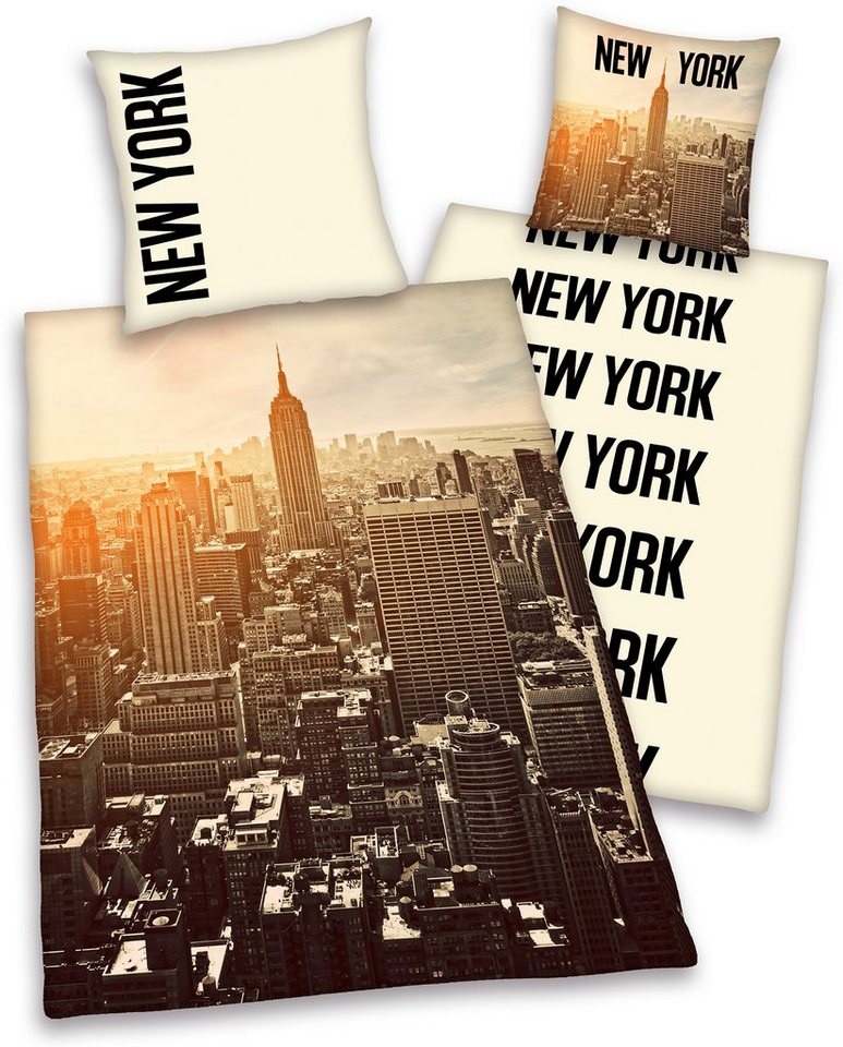 Wendebettwäsche, Young Collection, »NewYork«, mit Skyline in schwarz-beige