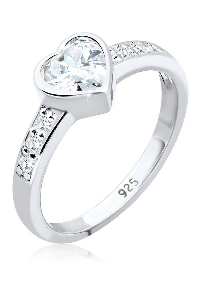 Elli Ring »Herz Zirkonia 925 Silber« in Weiß