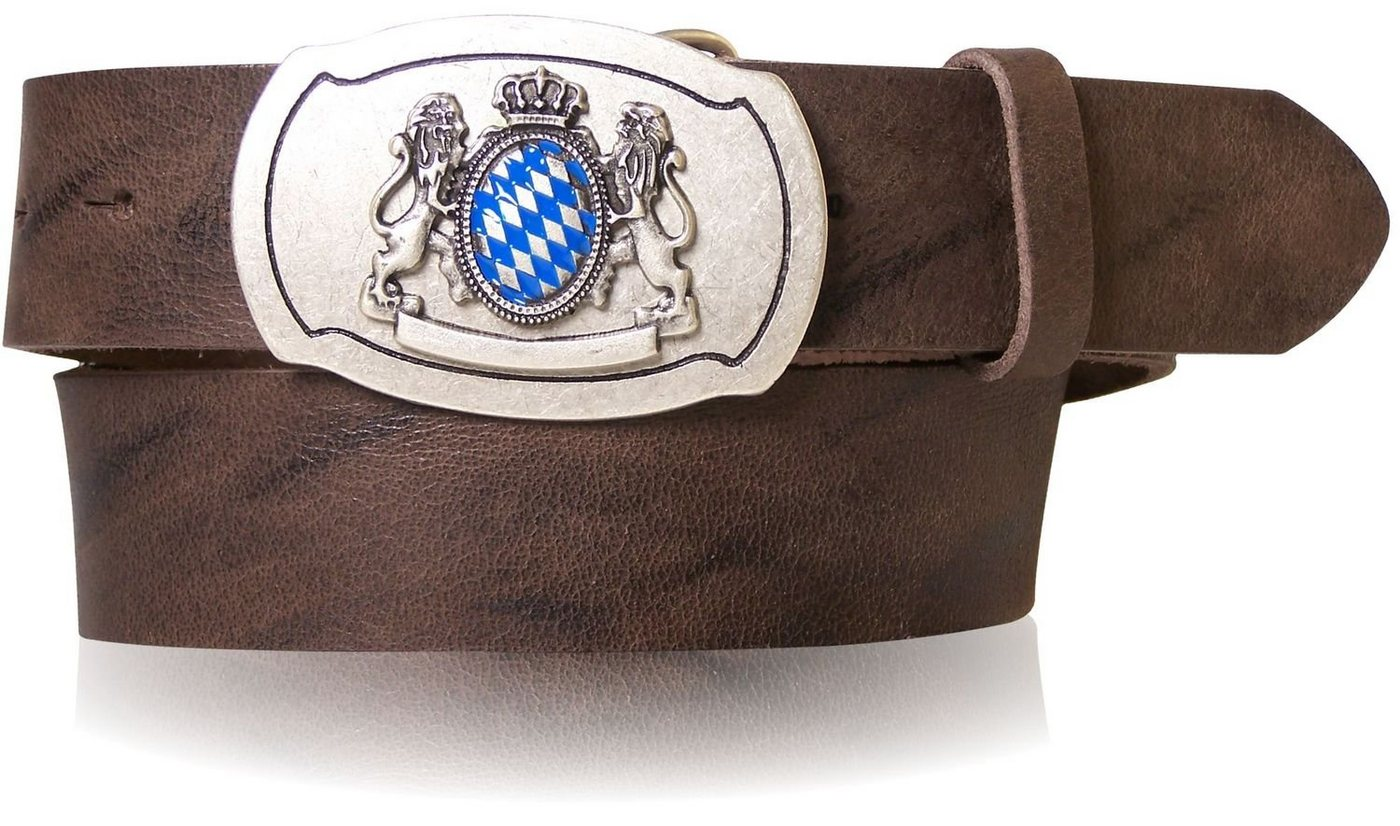 fronhofer -  Koppelgürtel »18532« Trachtengürtel mit bayerischer Gürtelschnalle in silber, Blau Weiß Wappen, 4 cm