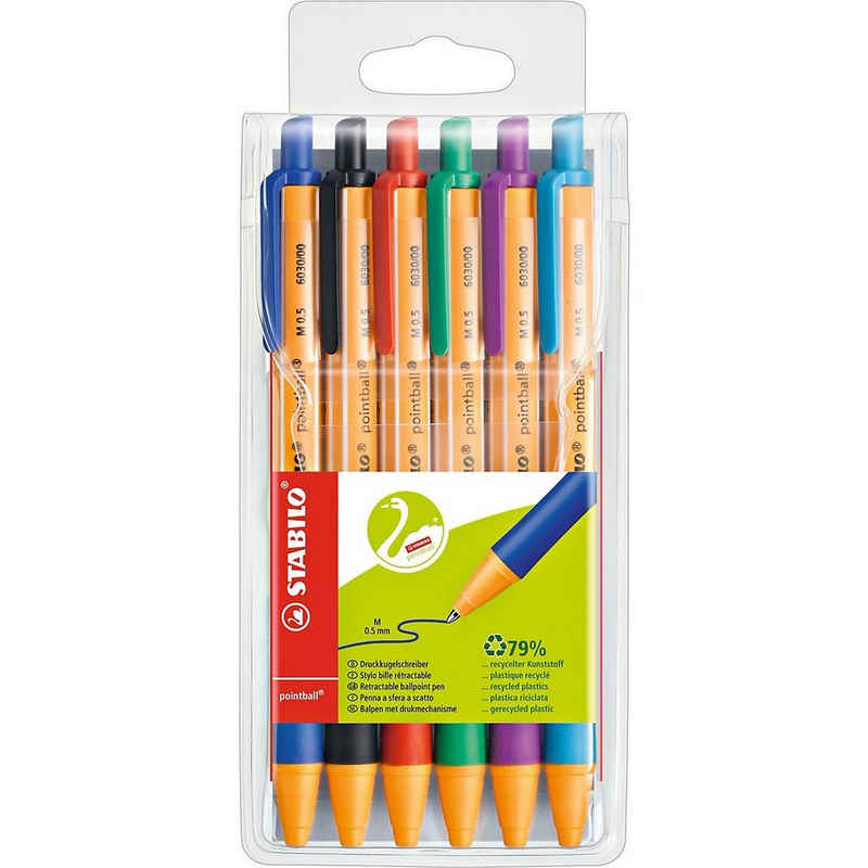 STABILO Kugelschreiber »Kugelschreiber pointball, 6 Farben«