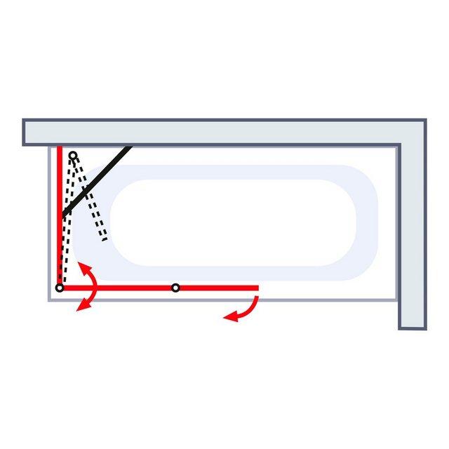 Badewannen und Whirlpools - Schulte Badewannenfaltwand »Komfort«, Einscheibensicherheitsglas, (Komplett Set, 3 tlg), mit Seitenwand  - Onlineshop OTTO