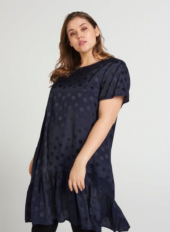 Festtagsmode - Zizzi Abendkleid Große Größen Damen Kurzärmeliges Kleid mit Tupfen ›  - Onlineshop OTTO