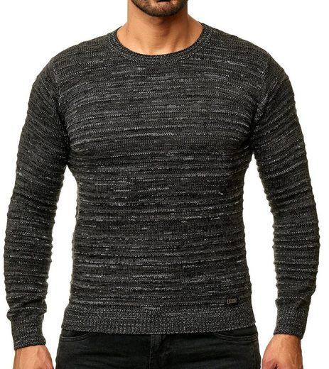 Rusty Neal Strickpullover »RUSTY NEAL Strick-Pullover figurbetonter Sweater Herren Sweatshirt Freizeit-Pullover Anthrazit«
