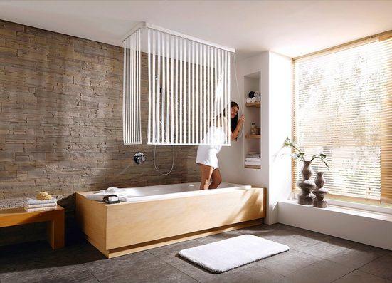Kleine Wolke Eck-Duschrollo »Streifen weiß« Breite 134 cm, ausziehbar, 134 x 240 cm