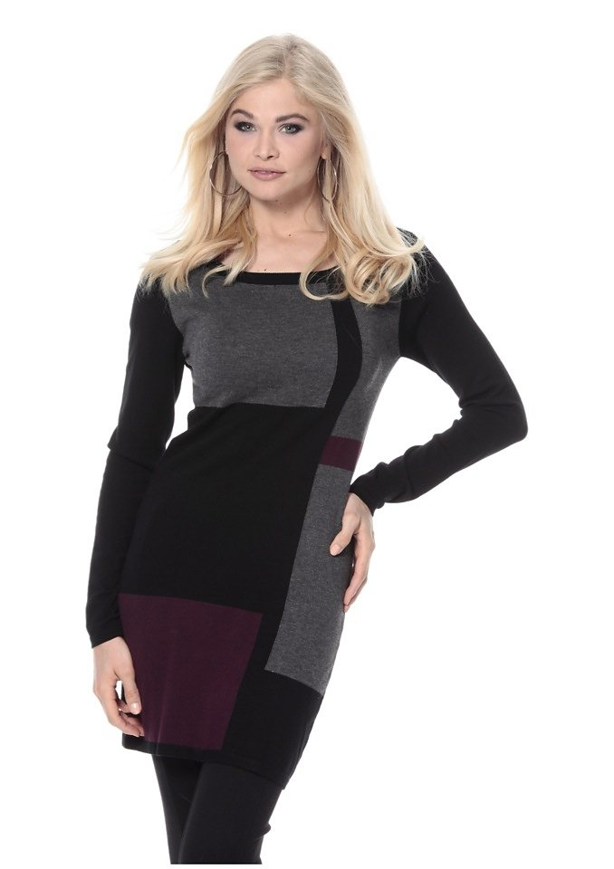 Vivance Longpullover in schwarz-grau-bordeaux
