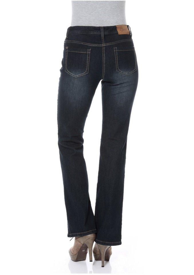 Cheer Bootcut-Jeans »Steffi« mit Crinkle-Effekt in darkblue