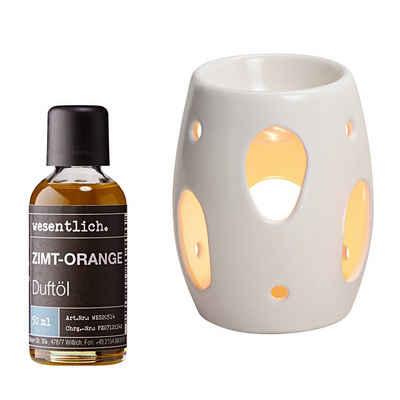 wesentlich. Duftlampe »Creme Weiß mit Premium Raumduft Zimt-Orange 50ml« (Duftöl-Set)