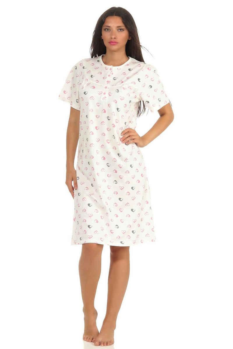 Normann Nachthemd »Damen Nachthemd kurzarm mit Herzen als Design und Knopfleiste am Hals – 102 210 90 355«