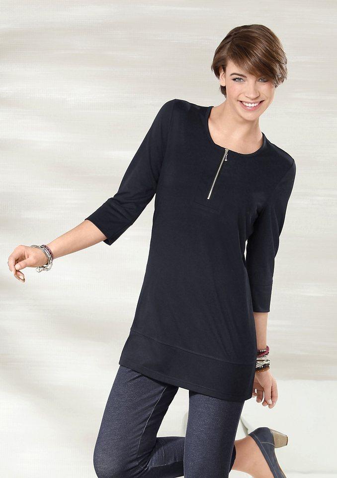 Classic Basics Longshirt mit silberfarbenem Reißverschluss am Ausschnitt | Bekleidung > Shirts > Longshirts | Schwarz | Classic Basics