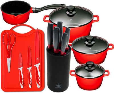 KING Topf-Set »Aluguss Red«, Aluminiumguss, (Set, 15-tlg., 4 Töpfe, 3 Deckel, 1 Messerblock, 5 Kochmesser, Messer-Set mit Schneidebrett), Induktion