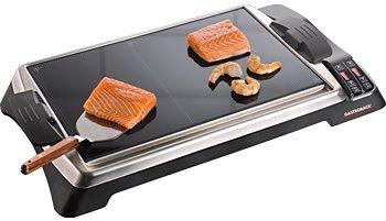 Gastroback Tischgrill Teppanyaki Glas-Grill Advanced, 1280 Watt in schwarz/silber