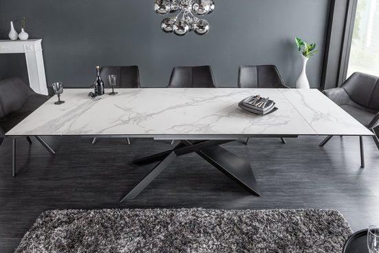 riess-ambiente Esstisch »EUPHORIA 180-220-260cm grau / weiß«, Keramik · ausziehbar · Marmor-Optik · Industrial Design
