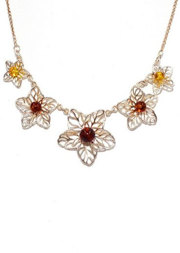 Firetti Collier »Blumen, schimmernd, feminin«, mit Bernstein, Made in Germany