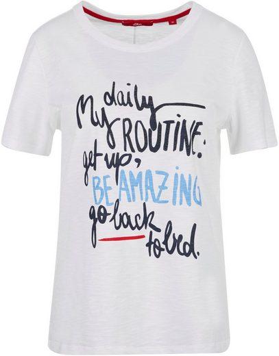 s.Oliver T-Shirt mit tollem Frontprint und Nietendetails