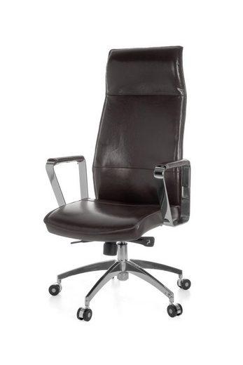 Amstyle Chefsessel »SPM1.144« Bürostuhl VERONA Bezug Echtleder Braun Schreibtischstuhl X-XL 120 kg Synchronmechanik Chefsessel Kopfstütze