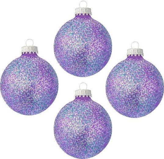 Krebs Glas Lauscha Weihnachtsbaumkugel »CBK80459« (4 Stück), mit Glitterfinish