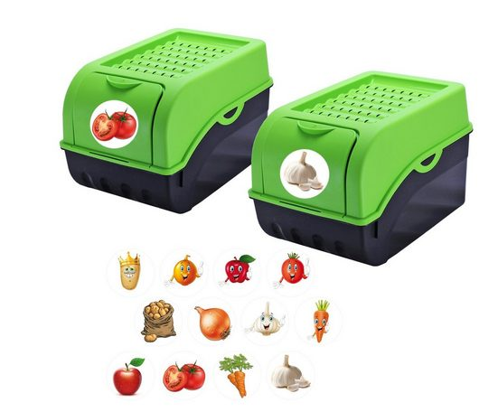 BigDean Kartoffelkiste »Kartoffelbox Kartoffelkiste Gemüsekiste Gemüsebox Zwiebel Aufbewahrung Kunststoff ca. 7,7 Liter« (2 Stück)