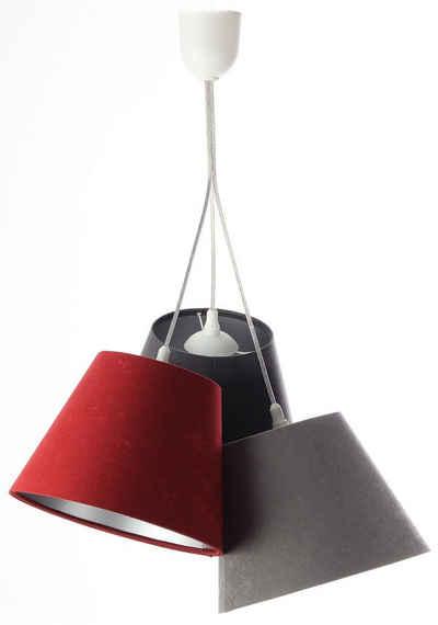 Jens Stolte Leuchten Pendelleuchte »Denise«, 3flammig, Textilpendelleuchte,dreifarbig, 3er Stoffpendelleuchte grau/anthrazit/bordeaux