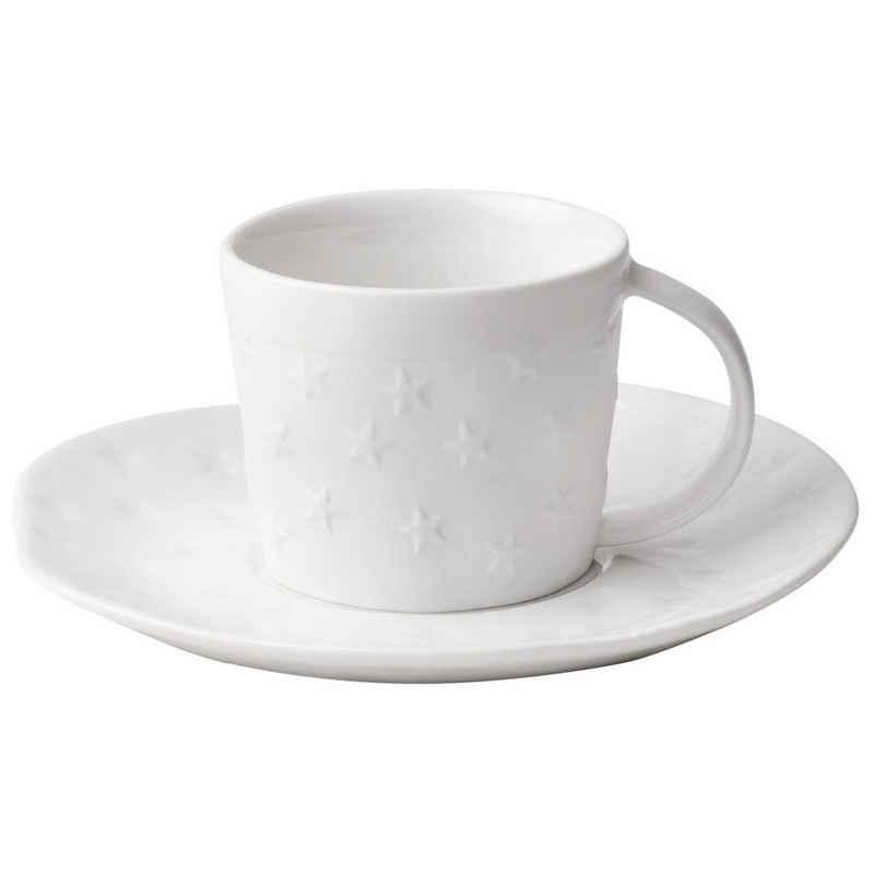 Räder Design Tasse »Weihnachtliche Tasse mit Unterteller Sterne«, Porzellan, Dining Kleine Tasse