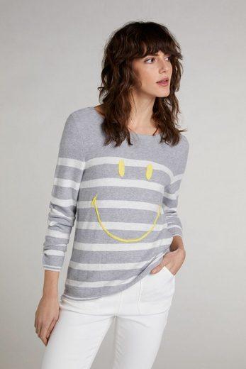 Oui Langarmshirt »Sweater mit Smiley«