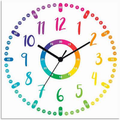 Artland Wanduhr »Kinderuhr - bunt« (lautlos, ohne Tickgeräusche, nicht tickend, geräuschlos - wählbar: Funkuhr o. Quarzuhr, moderne Uhr für Wohnzimmer, Küche etc. - Stil: modern)
