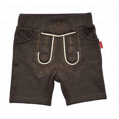 Mogo Trachtenbermudas »Baby Trachtenbermuda, aus softer Sweatware, braun bestickt, elastischer Bund« elastischer Bund