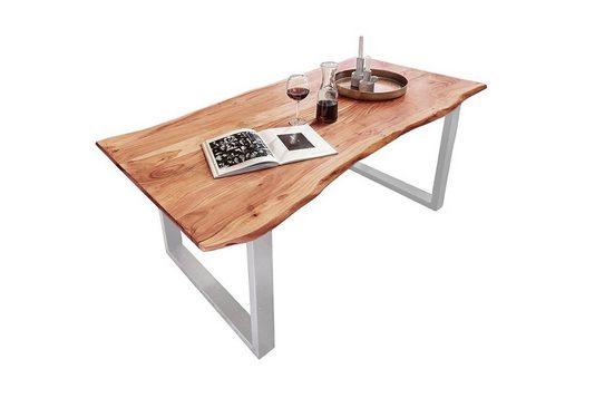 Junado® Baumkantentisch »Quinn«, Akazie Massivholz naturfarben 26mm natürliche Baumkante