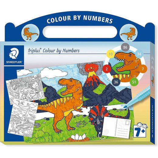 STAEDTLER Malset triplus Colour by Numbers Dinosaurier, inkl. Stifte
