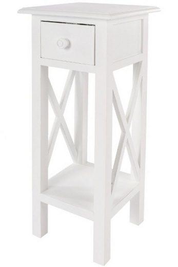 elbmöbel Telefontisch »Telefontisch weiß Holz«, Beistelltisch: Schublade 27x66x27 cm weiß Landhausstil