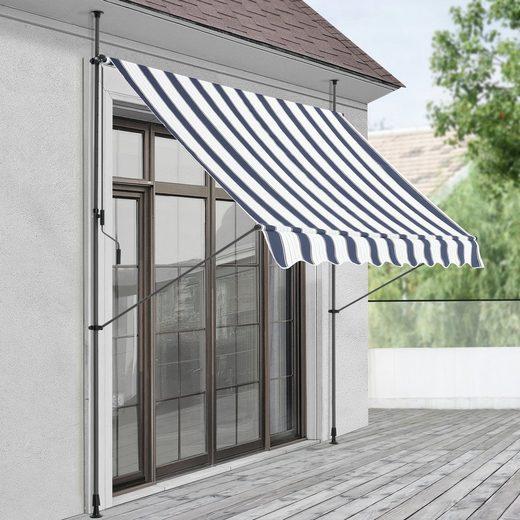 Pro-tec Klemmmarkise »Oeiras« Sichtschutz 150x120x200-300cm Balkonmarkise ohne Bohren Blau-Weiß Gestreift