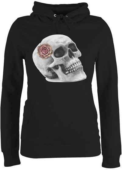 Shirtracer Hoodie »Totenkopf Rose Vintage Skull - Halloween - Damen Premium Kapuzenpullover«