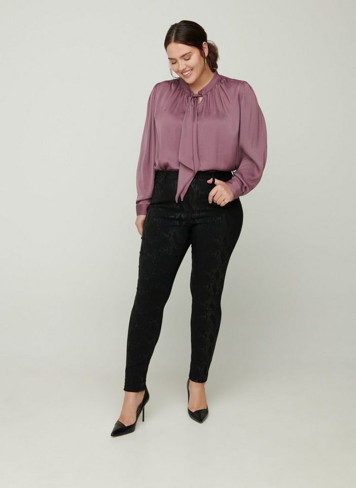 zizzi -  Stoffhose Große Größen Damen Slim Fit Hose mit Print aus Viskose