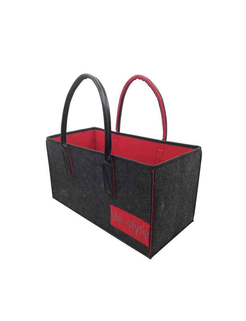 RAIKOU Einkaufskorb »Filztasche mit weichem Ledergriff« (Einkaufstasch Kaminholztasche Spielzeugaufbewahrung für Einkaufs Zeitungs Holz Spielzeug, 50x25x25cm, 50x34x27cm)