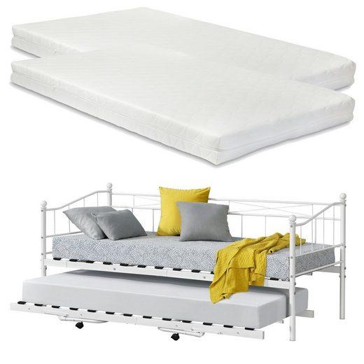 en.casa Metallbett, »Skutskär« Tagesbett mit ausziehbarer Liege und 2 Kaltschaummatratzen Kojenbett Gästebett 90x200cm Weiß