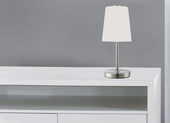 TRANGO LED Nachttischlampe, 2017-95 LED Schreibtischlampe in Nickel matt mit satinierte Glasschirm *BOSTON* Tischlampe, Nachttischlampe, Fensterbankleuchte inkl. 1x 5 Watt LED Modul Leuchtmittel 3000K warmweiß inkl. ON/OFF Schnurschalter