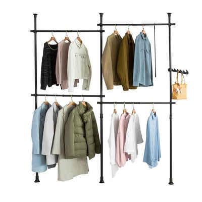 SoBuy Kleiderständer »KLS03«, Garderobenständer mit 4 Kleiderstangen verstellbares Regalsystem