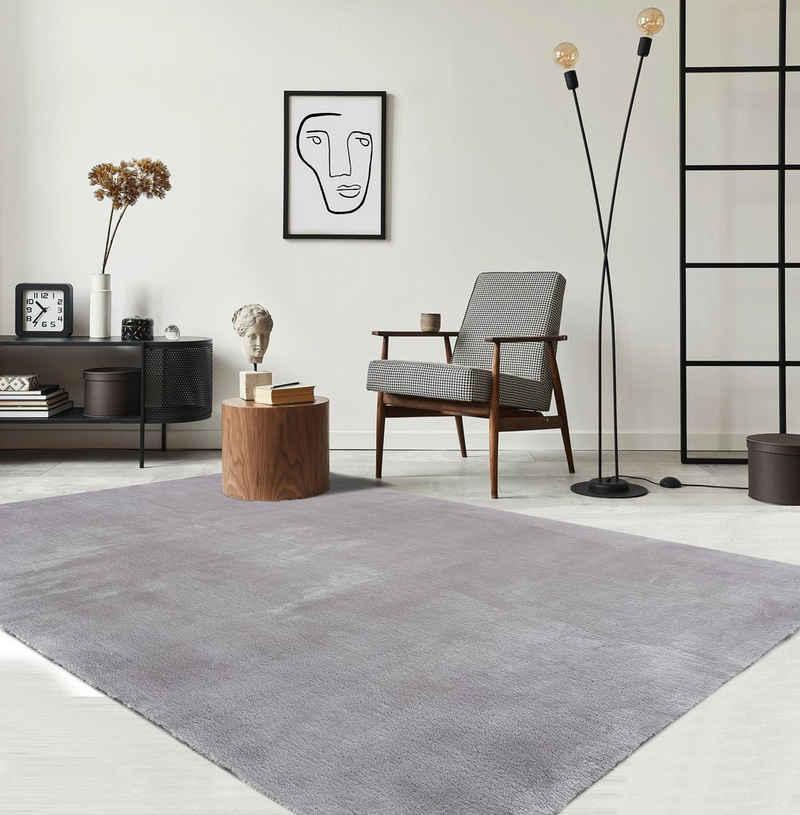 Teppich »Relax Moderner Flauschiger Kurzflor Teppich, Anti-Rutsch Unterseite, Waschbar bis 30 Grad, Super Soft, Felloptik, Grau, 60 x 110 cm«, the carpet, Rechteck