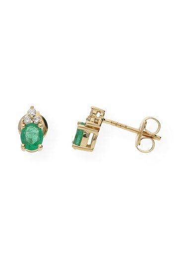 JuwelmaLux Paar Ohrstecker »Ohrstecker Gelbgold mit Diamant(en) und Smaragd« (2-tlg), Damen Ohrstecker Gelbgold 585/000, inkl. Schmuckschachtel