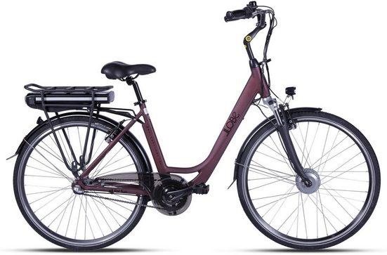 LLobe E-Bike »Metropolitan JOY rot 8 Ah«, 3 Gang, Nabenschaltung, Frontmotor 250 W