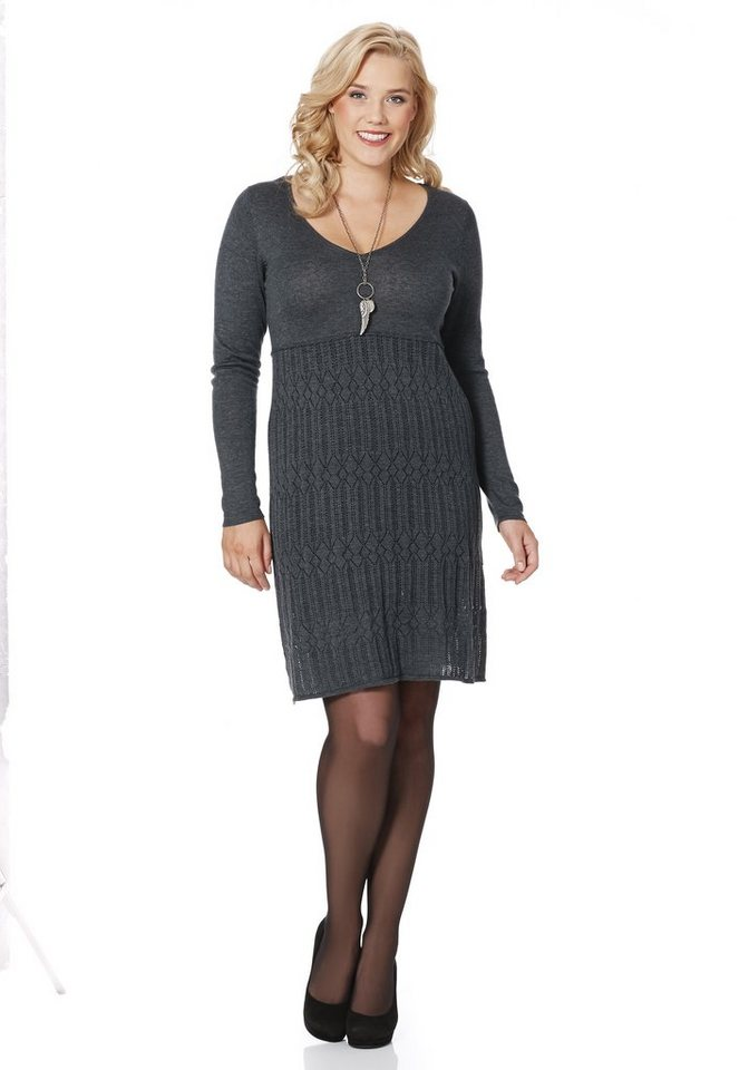 sheego Style Strickkleid in grau meliert