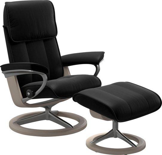 Stressless® Relaxsessel »Admiral« (Set, Relaxsessel mit Hocker), mit Hocker, mit Signature Base, Größe M & L, Gestell Whitewash