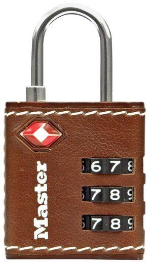 MASTER LOCK Vorhängeschloss Zahlenschloss TSA Gepäckschloss, 32 mm mit brauen Leder
