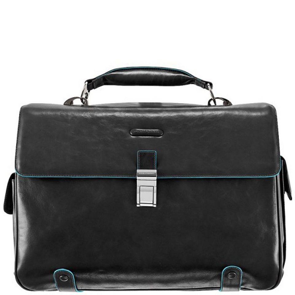 Piquadro Blue Square Aktentasche Leder 44 cm Laptopfach in schwarz