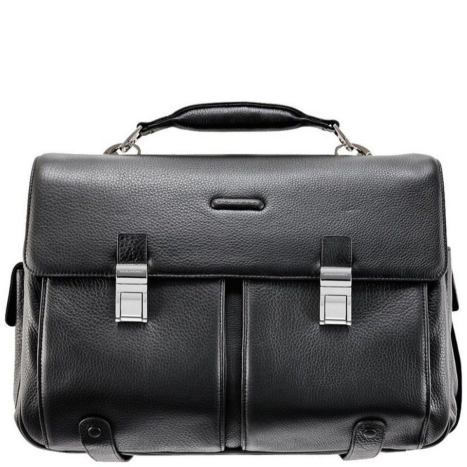 Piquadro Modus Aktentasche Leder 43 cm Laptopfach in schwarz