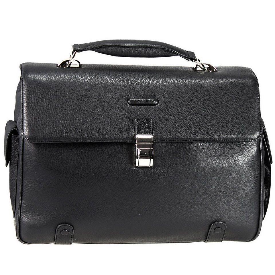 Piquadro Modus Aktentasche Leder 44 cm Laptopfach in schwarz