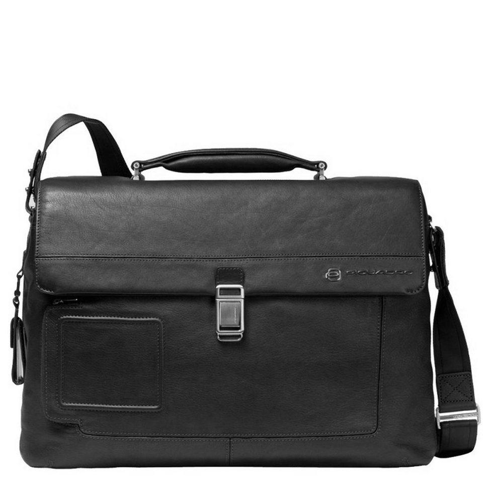 Piquadro Vibe Aktentasche Leder 42 cm Laptopfach in schwarz