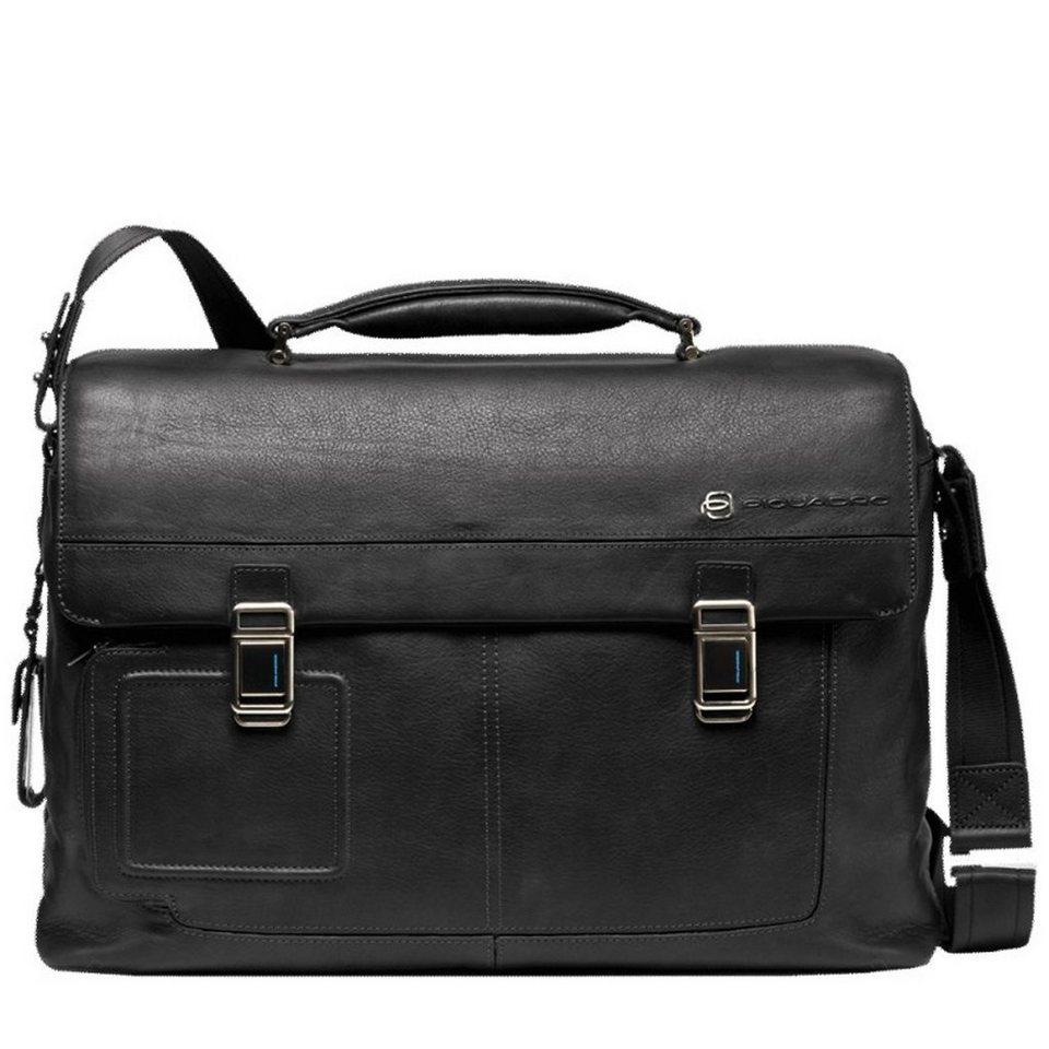 Piquadro Vibe Aktentasche Leder 43 cm Laptopfach in schwarz